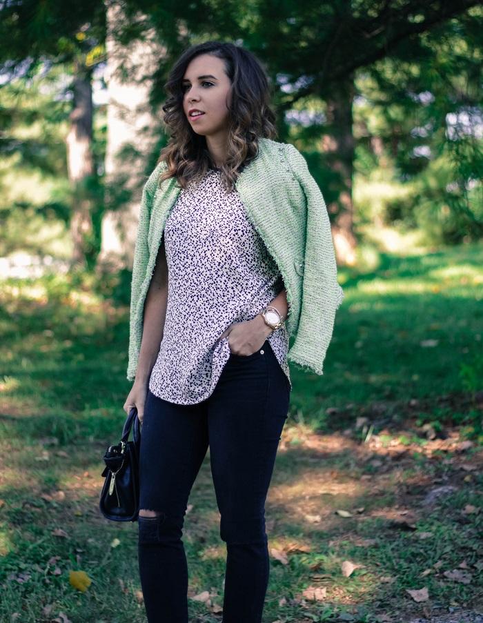 green tweed blazer.  madewell high riser destroyed black denim. fall style. va darling. andréa viza. dc blog. dc blogger. dc fashion. 6