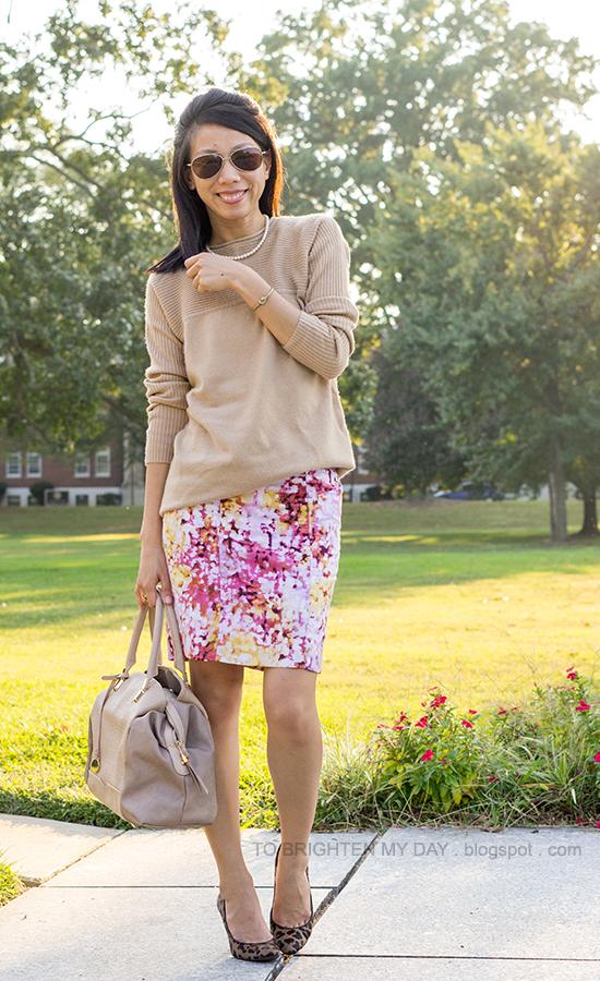 camel sweater, floral printed skirt, leopard heels