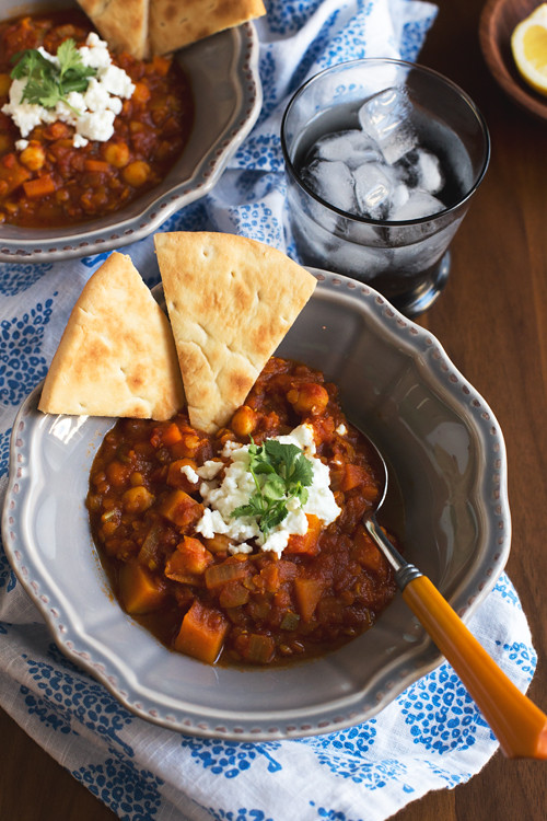 Spicy Lentil Stew with Butternut Squash, Chickpeas, and Goat
