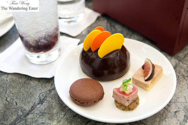 My plate of chocolate cake, chocoalte macaron, tuna and foie gras crostini