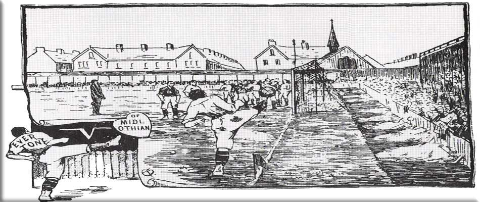Sketch of Everton v Hearts of Midlothian c.1892