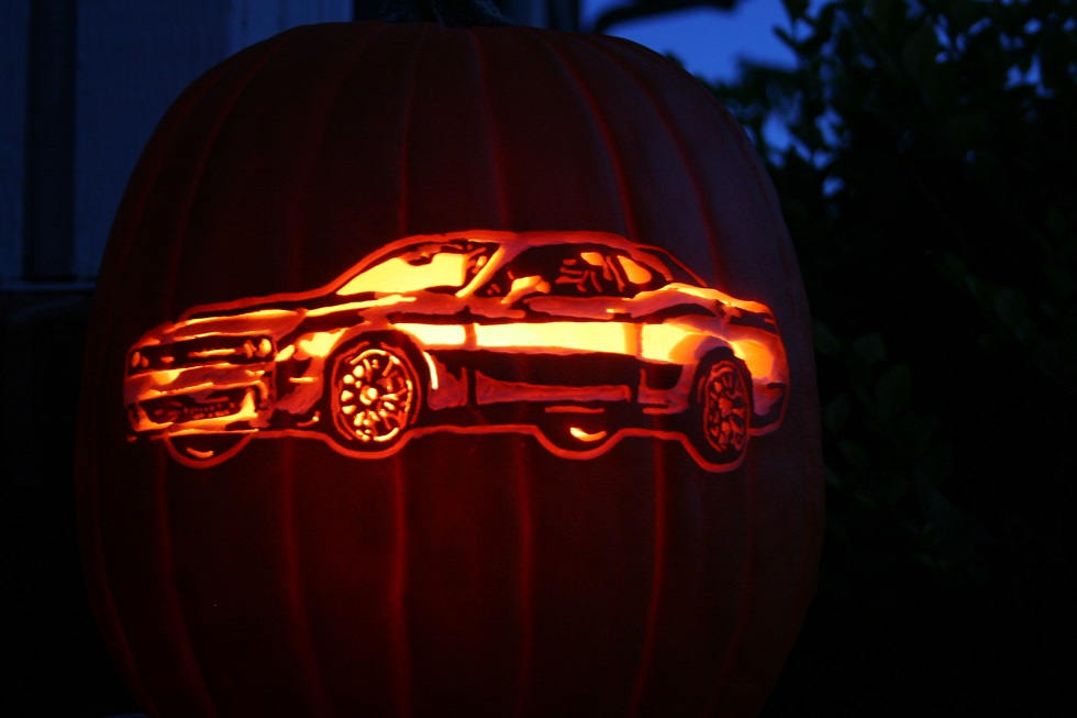 Dodge Challenger Hellcat Carved Pumpkin