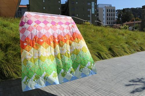 Heather Ross Rainbow Quilt Top