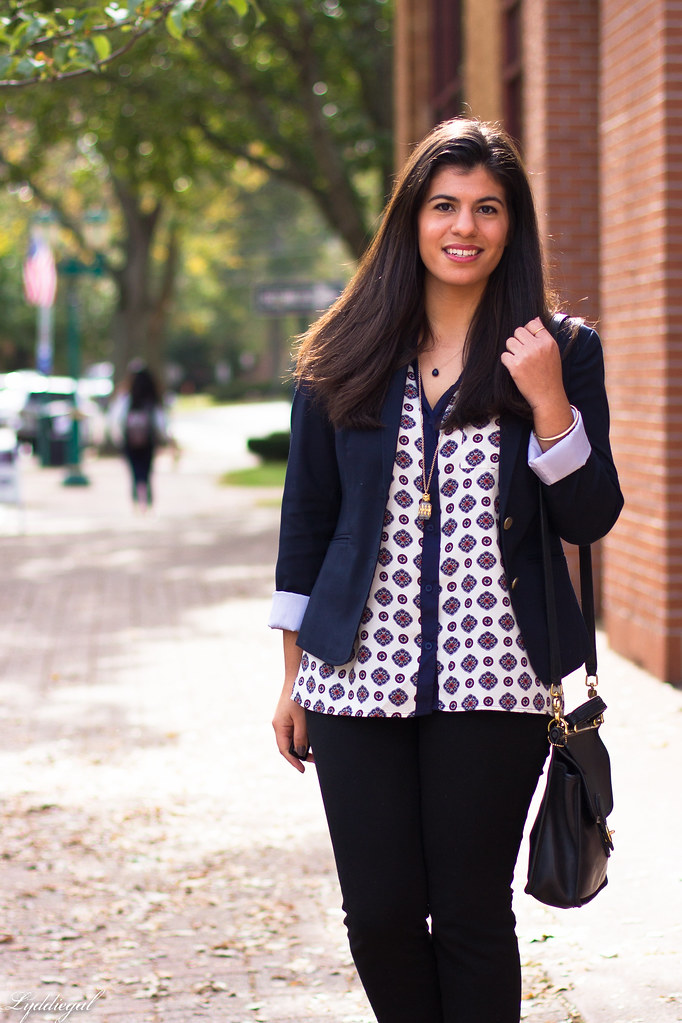 medallion print blouse, navy blazer, black pants-2.jpg