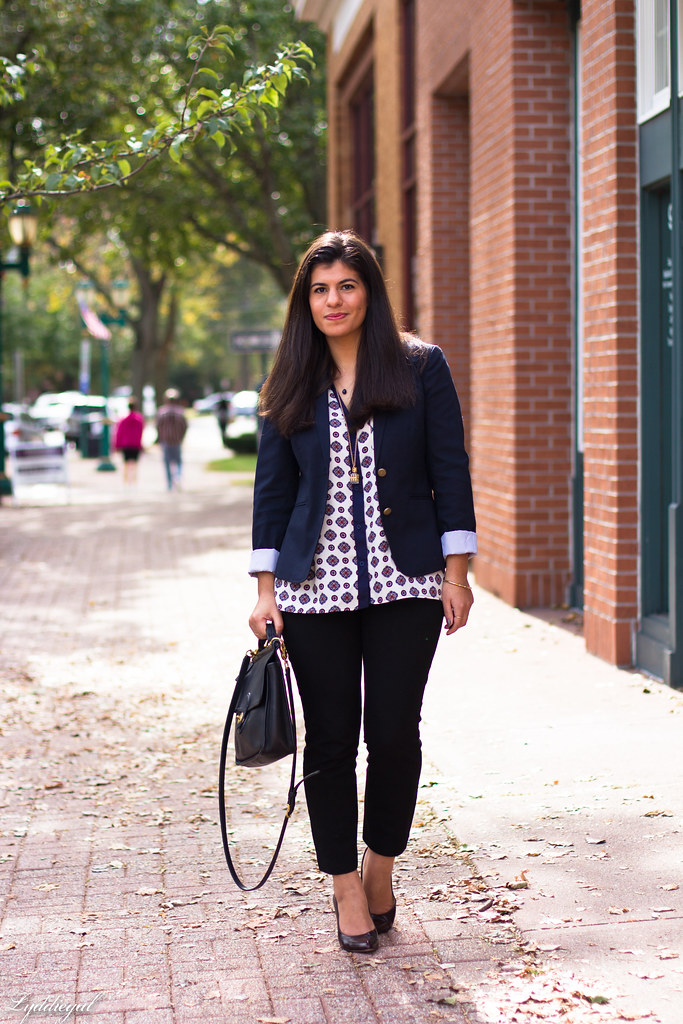 medallion print blouse, navy blazer, black pants-3.jpg
