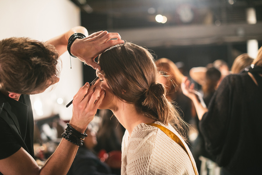 Makeup artist at fashion week
