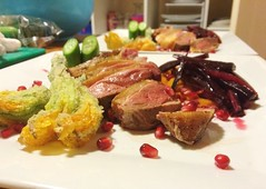 Grilled Corn-Fed Duck with Stuffed Tempura Zucchin…