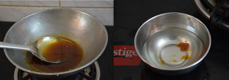 preparation of jaggery syrup for sweet puttu