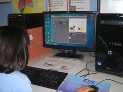 Pupil using Scratch, by Lawrence Williams