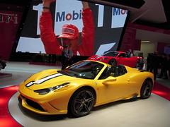 automobile(1.0), vehicle(1.0), ferrari 458(1.0), performance car(1.0), automotive design(1.0), auto show(1.0), land vehicle(1.0), luxury vehicle(1.0), coupã©(1.0), sports car(1.0),