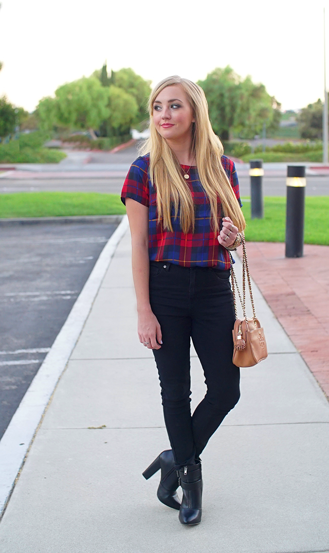 tartan print blouse