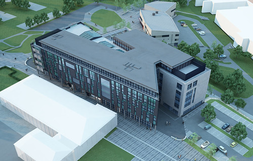 CGI showing the aerial view of the new Faculty of Business and Law building on Frenchay Campus