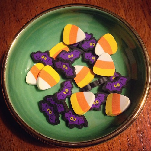 Oh yeah, and since it's October, I am adding bat/candy corn erasers to all orders. Because: awesome. Right?