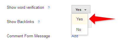 Word verification set to Yes