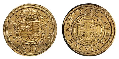 No. 408 SPAIN. Charles II, 1665-1700. 8 escudos