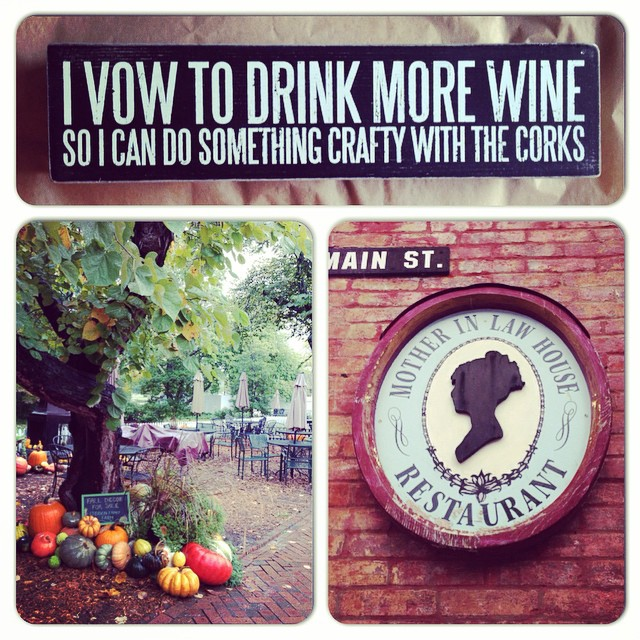 Every year my friends and I go Fall and Halloween shopping on Main Street in St. Charles. I bought the best sign EVER and I loved walking on the cobblestone streets that had trees lined with pumpkins. We enjoyed lunch at the MIL House, which is always c