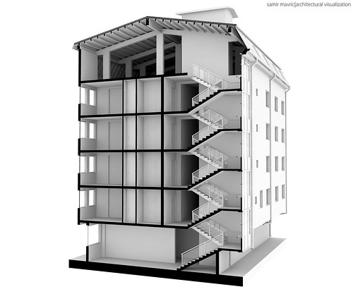 Building Clay 3D Section, Architectural Visualization
