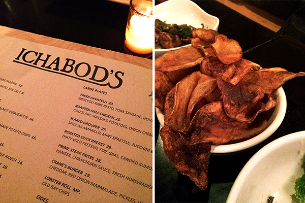 Ichabod's menu & Old Bay chips