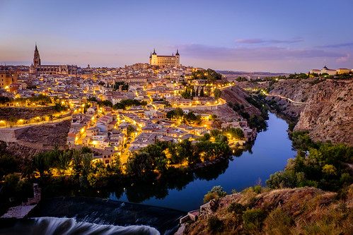 city sunset river landscape spain toledo valley tagus