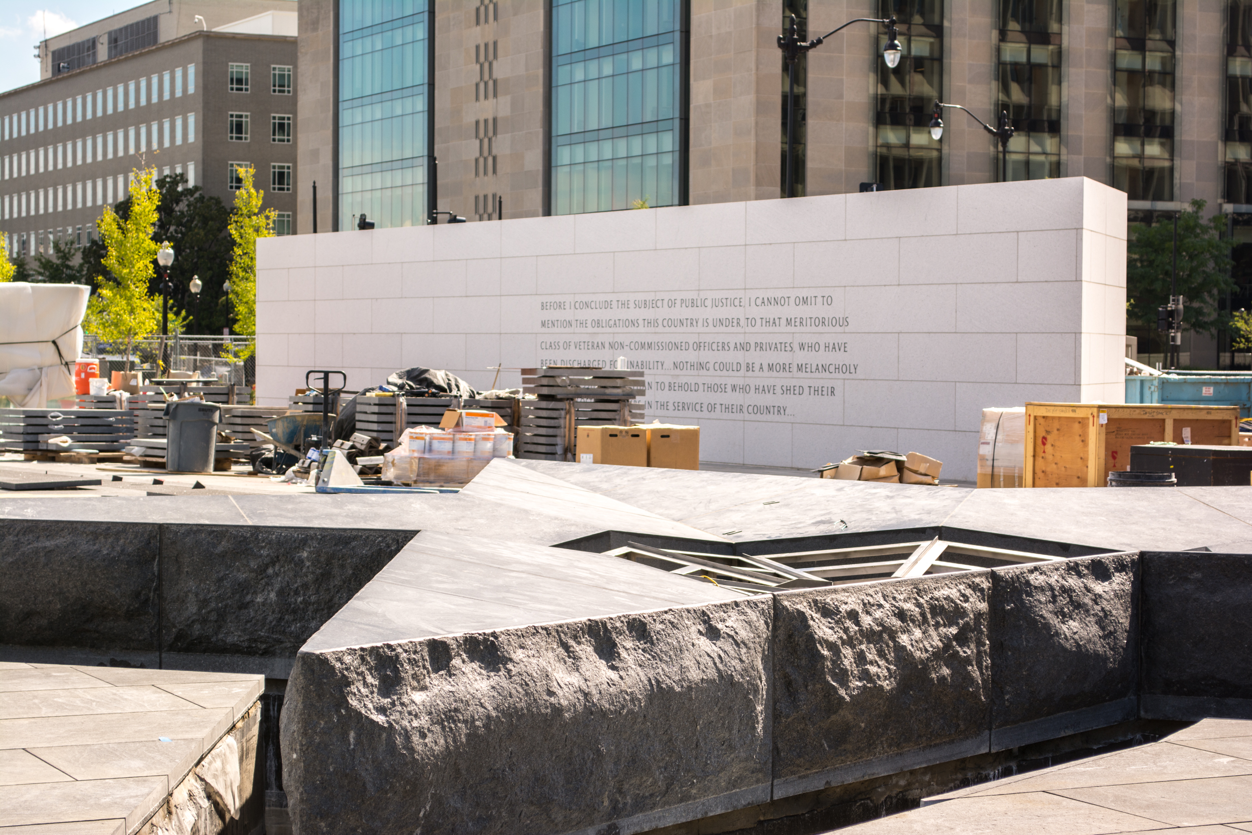 fountain and south wall - American Veterans Disabled for Life Memorial - 2014-08-28