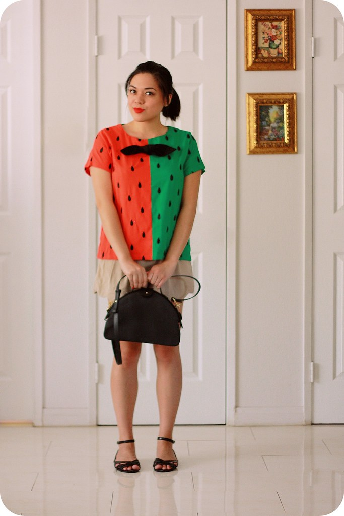 Outfit style post featuring watermelon Modcloth blouse, scalloped shorts, Kate Spade Saturday satchel, Stila lipcolor in Tesoro