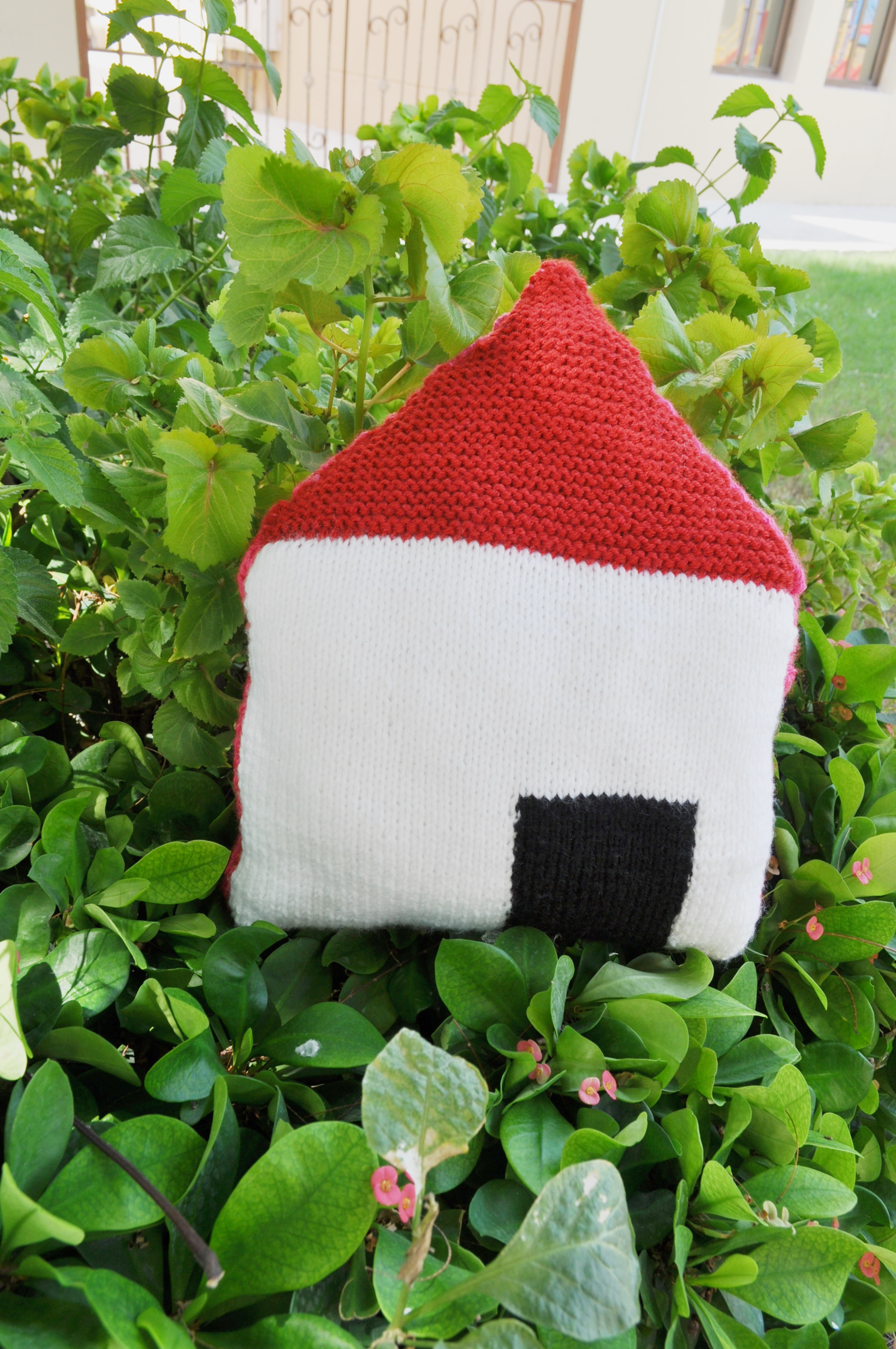 knitted house pillow