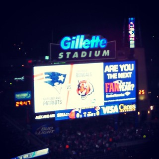 Let's go Pats! #nfl #patriots #gillette #PatsVsBengals #PinkRibbon #October #Awareness #Pats #newengland