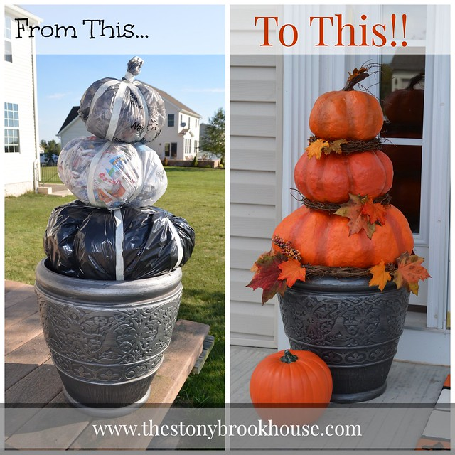 Before and After DIY Outdoor Pumpkins
