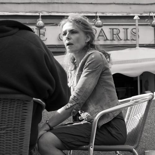 elderly woman talks