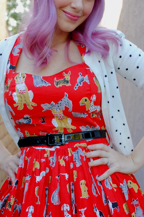 Bernie Dexter Rose Pin Up dress in red dog print 019