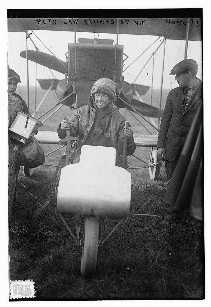 Ruth Law arriving N.Y. [plane] (LOC)