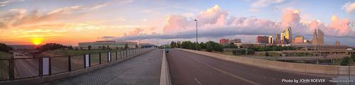 kansascity missouri usa june 2016 june2016 evening kc kcmo downtownkansascity skyline kcskyline kansascityskyline bridge summitstreetbridge summitstbridge i670 interstate670 pano panorama panoramic autostitch sunset
