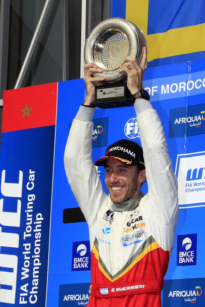 podium race 1 GUERRIERI Esteban (ARG) Chevrolet RML Cruze TC1 Campos Racing ambiance portrait during the 2017 FIA WTCC World Touring Car Race of Morocco at Marrakech, from April 7 to 9 - Photo Paulo Maria / DPPI