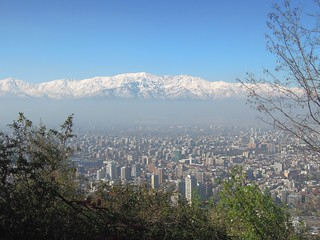 Chile (Santiago) Panoramic view of city and snow-capped Andes