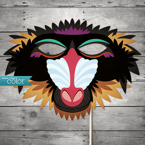 Printable Baboon Monkey Mask - Shades of Every Color