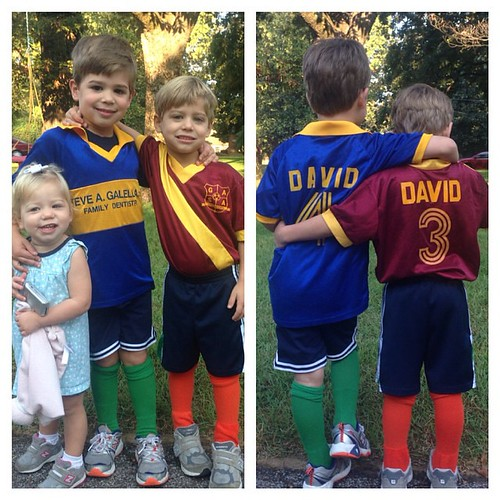 Tacky day at the boy's school. They are wearing David's jerseys from when he was a little boy. Maggie wanted to be in the picture too.