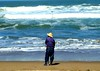 Fisherman at Ocean Beach, san Francisco, CA, USA.