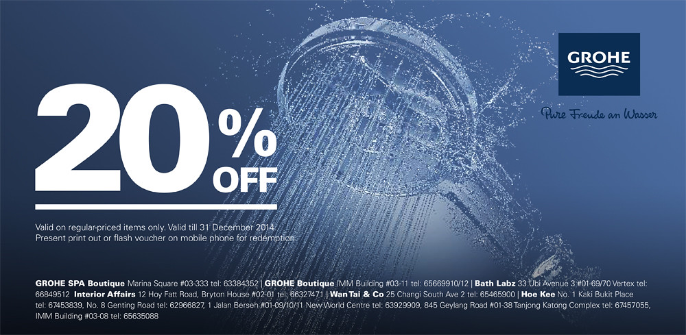 Get 20% off Grohe products with this e-voucher