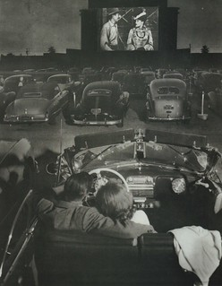 Drive in movie theater in Los Angeles, California c.1950