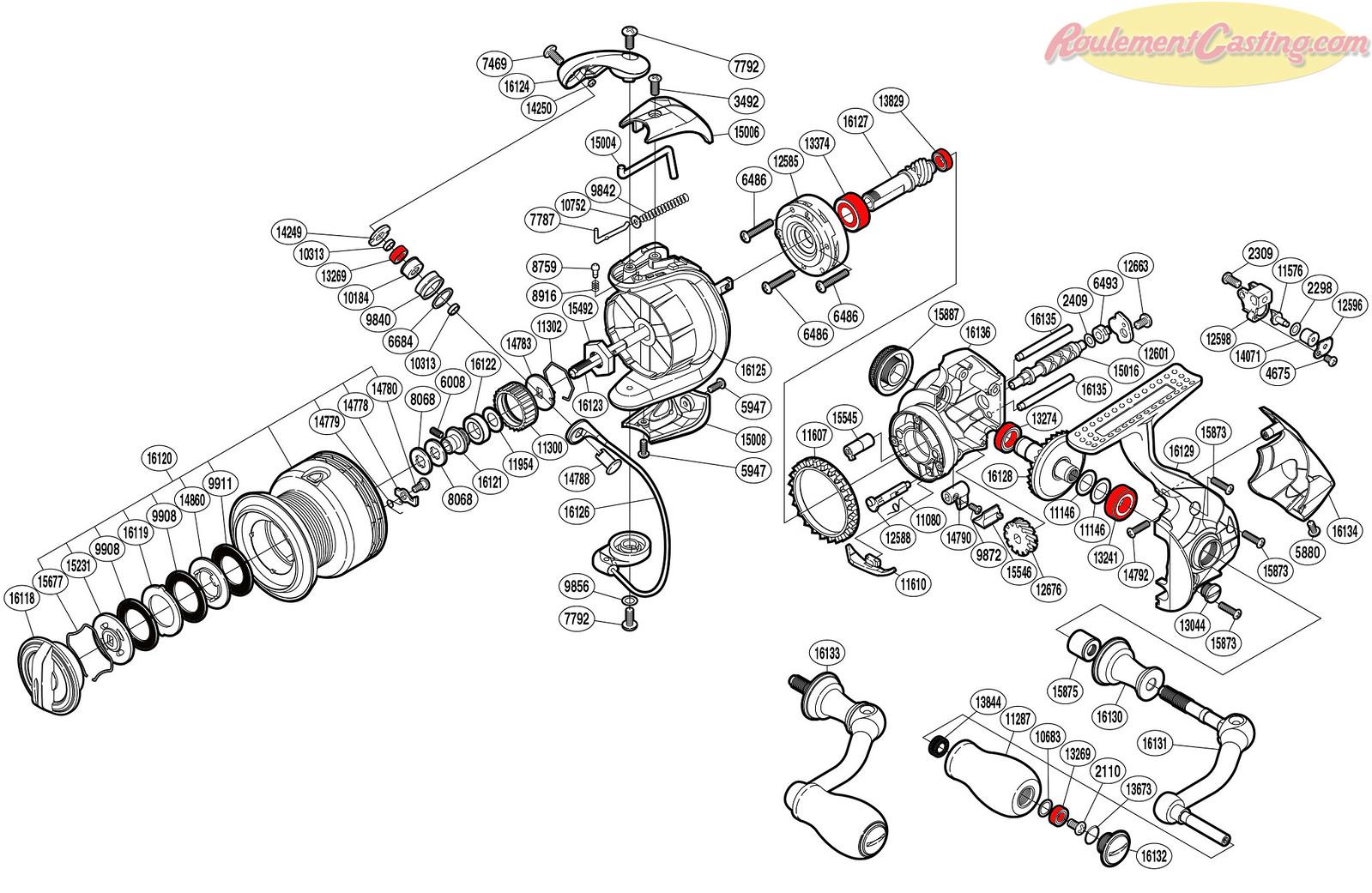 Schéma Shimano 14'Stradic CI4+ 2500FA