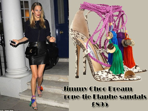 Poppy Delevingne in Jimmy Choo Dream rope-tie Elaphe sandals, sweater & leather skirt