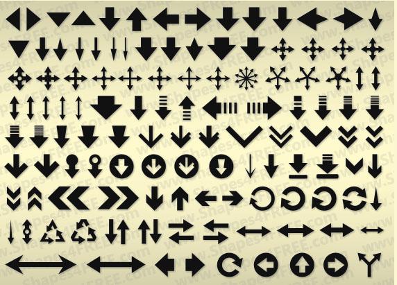 120 Arrows Symbols Shapes