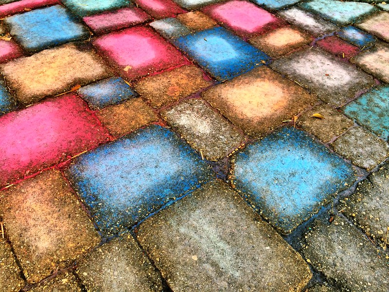 Colored bricks like stained glass