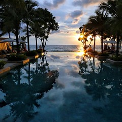 I had to do another pool shot. I think this is an improvement over the previous one. What do you think? #travel #thailand #photooftheday #travelphoto #nofilter #travelpick #ocean #pool #sunset