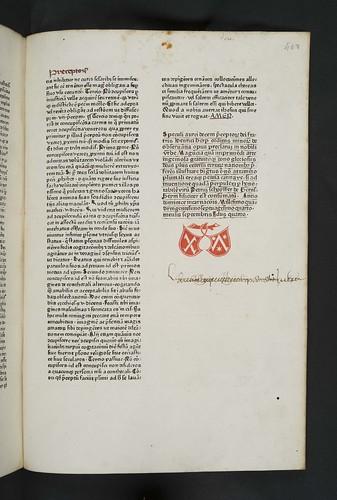 Colophon and printer's device in Henricus de Herpf: Speculum aureum decem praeceptorum Dei
