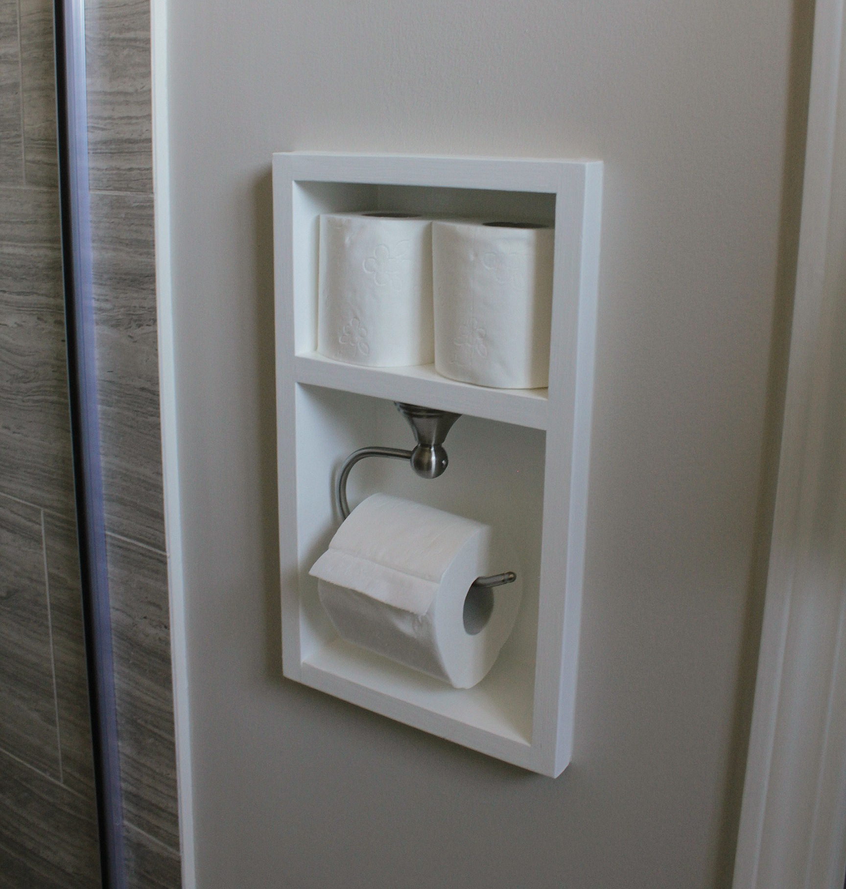 ensuite bathroom renovation custom toilet paper holder