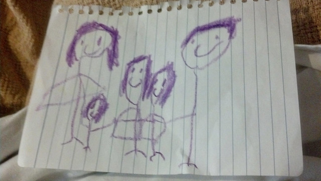 Savannah's drawing of our new family of 5