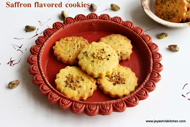saffron flavored cookies | eggless cookies for diwali