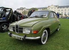 automobile, vehicle, compact car, antique car, sedan, classic car, vintage car, saab 96, land vehicle, sports car,