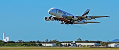 A380 taking off from Brisbane International